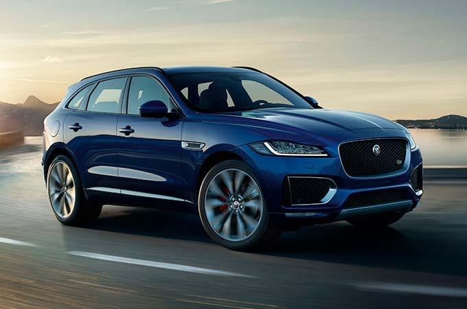 Jaguar F-PACE in Caesium Blue.